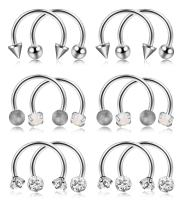ORAZIO 12PCS 16G Stainless Steel Nose Septum Horseshoe Hoop Ring Eyebrow Lip Tragus Ear Piercing Body Jewelry Diameter 8MM 10MM