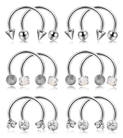 5-16PCS 316L Surgical Steel Hinged Nose Rings 20G 16G Body Piercing Jewelry Nose Septum Ring Horseshoe Hoop Labret Ring Nose CZ Helix Cartilage Earrings