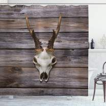 """Ambesonne Antlers Shower Curtain, Rustic Antler on Wooden Wall Wintertime Mountain Hut Country Style Rustic Design, Cloth Fabric Bathroom Decor Set with Hooks, 84"""" Long Extra, Brown Beige"""