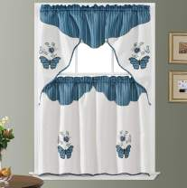 GOHD Golden Ocean Home Decor Butterfly Applique. 3pcs Swag Valance and Tiers Set. Big Butterfly Applique of Print Fabric and Matching Color Embroidery of Rose and Butterfly Combination. (Blue Ripple)
