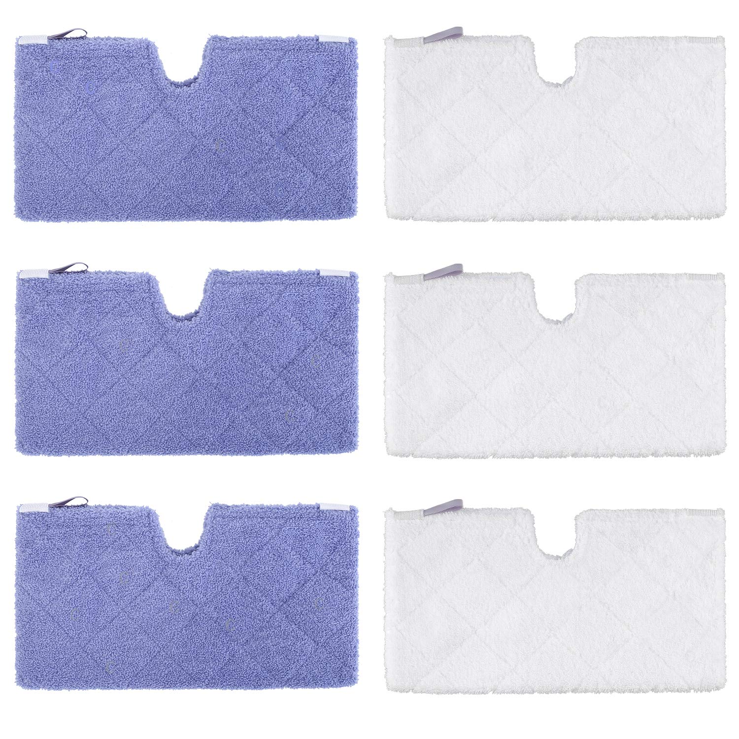 YISSVIC Steam Pocket Mop Pads 6 Pack Compatible Replacement Mop Pads for Shark Euro Pro S3501 S3601 S3901 Purple and White
