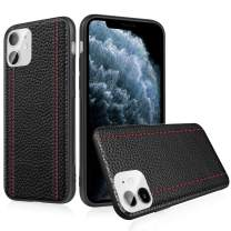 KLOSHANE iPhone 11 Leather Case Cover - Thin Luxury Premium Genuine Leather No-PU Soft Flexible Bumper Non-Wallet Anti-Slip Scratch iPhone 11 6.1'' Cover Work with Wireless Charging