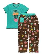 Lazy One Women's Pajama Set, Short Sleeves with Cute Prints, Relaxed Fit