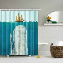 COLORPAPA Cartoon Decorative Shower Curtain A Huge Whale Under The Ocean The Wooden Ship on The Sea Waterproof Polyester Fabric Bath Curtain with 12pcs Hooks
