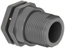 "Hayward BFA1012SFS Series BFA Standard Flange Bulkhead Fitting, Socket x Socket End, PVC with FPM Seals, 1-1/4"" Size"
