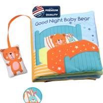 Teddy Bear Soft Cloth Book Baby Activity Books,Developmental Toys, Interactive Books for Babies Toddlers Infants kids,Boys & Girls,Non_Toxic Machine Washable Toys,Good Night Fabric Soft Book Baby Gift