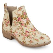 Journee Collection Womens Floral Round Toe Side Slit Booties