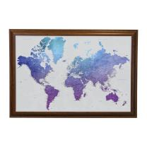 Vibrant Violet Watercolor World Travel Map with Brown Frame