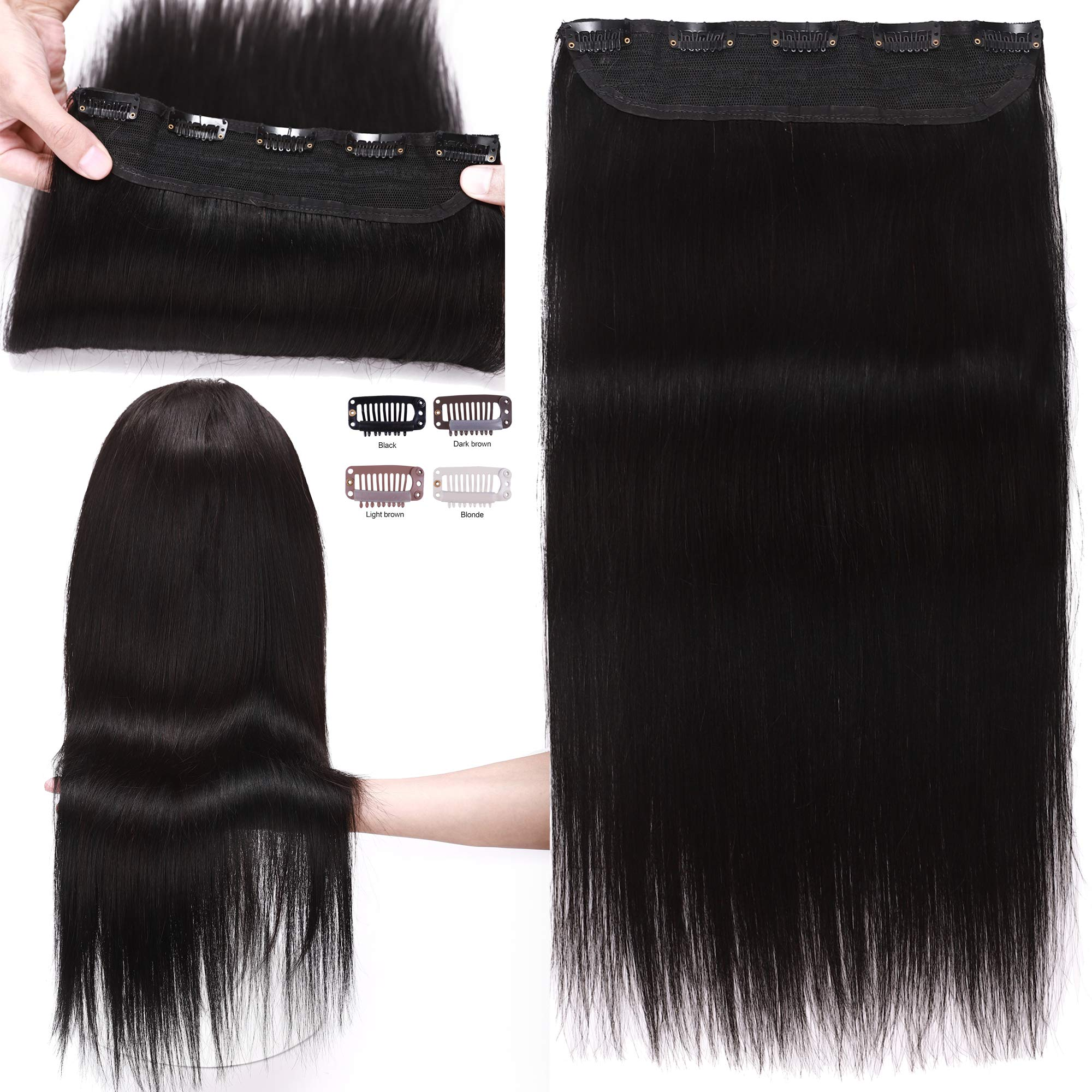 S-noilite 16inch 80g Clip in Real Human Hair Extensions 100% Remy Hair One Piece 5 Clips 3/4 Full Head Straight Invisible Thick Clip on Extensions for Women Gifts #1 Jet Black