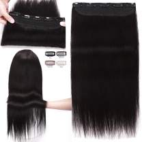 S-noilite 18inch 90g Real Human Hair Clip in Extensions One Piece 3/4 Full Head 5 Clips Invisible Straight Thick Clip on Hair Extensions for Women #1 Jet Black