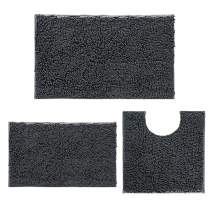 Chenille Bathroom Rugs and mats Set of 3 Piece Bath Mats, Extra Soft and Absorbent Shaggy Rugs, Bathroom Rugs and mats Set, Machine Washable Bath mat Set for Tub, Shower, and Bath Room, Dark Gray