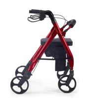 Comodità Prima Heavy-Duty Rolling Walker Rollator with Comfortable 15-Inch Wide Nylon Seat (Metallic Red)
