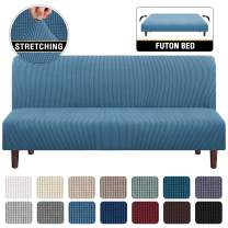 Stretch Armless Futon Cover Futon Slipcover Full Queen Size Futon Couch Cover Futon Sofa Cover Futon Bed Cover Furniture Protector with Elastic Bottom, Checked Pattern Jacquard (Futon, Dusty Blue)