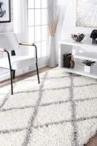 nuLOOM Trellis Cozy Soft & Plush Shag Area Rug, 4' Round, White