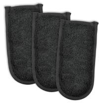 DII 100% Cotton, Quilted Terry Oven Set Machine Washable, Heat Resistant with Hanging Loop, Pan Handle, Black 3 Count