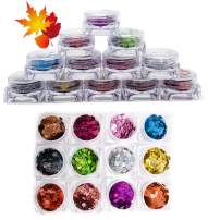 LanMa Holographic Nail Sequins Maple Leaf Nail Glitter Sequins Nail Sparkle Glitter Sheets Nail Art Craft Decoration - 12 Colors Leaf Nail Art