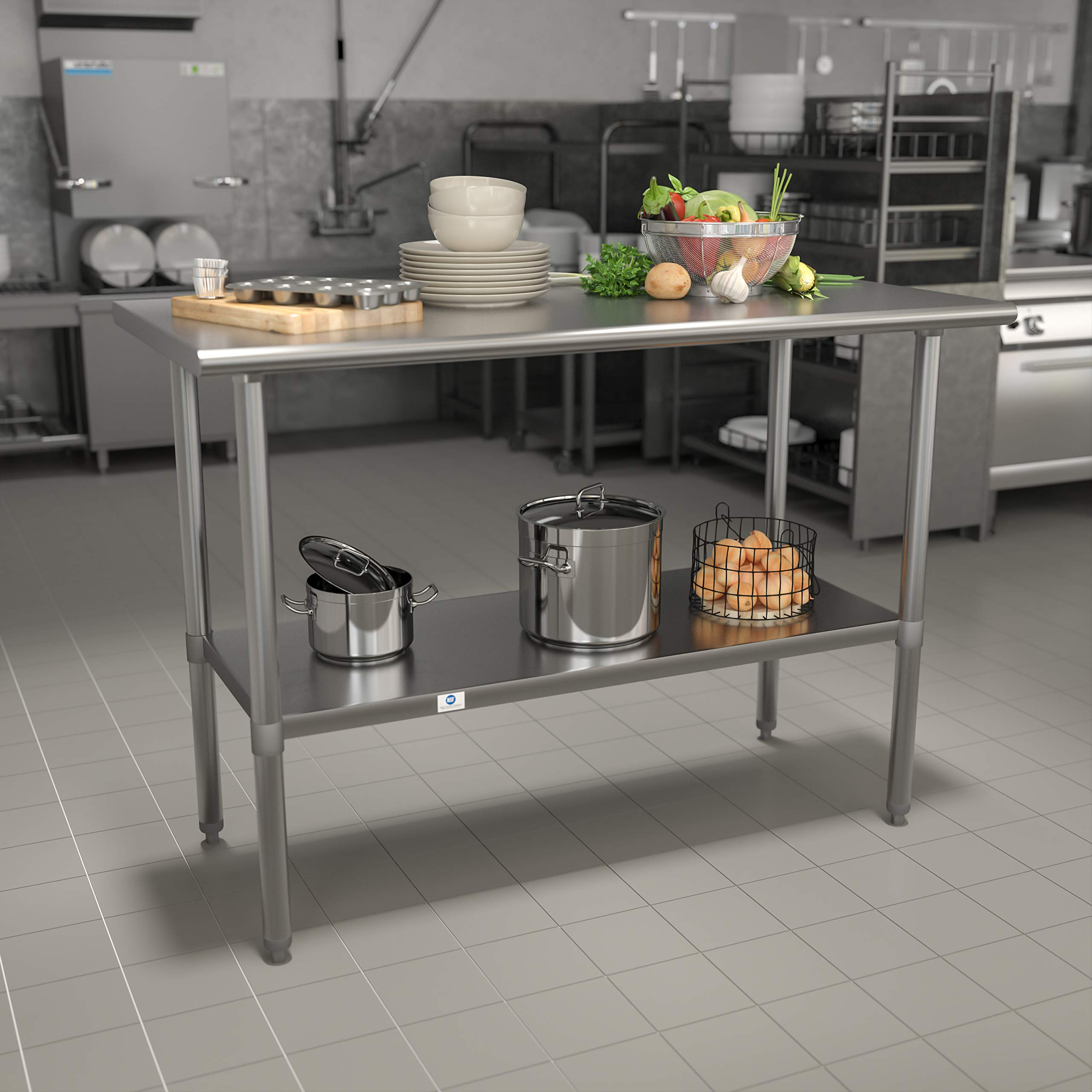 """Flash Furniture Stainless Steel 18 Gauge Work Table with Undershelf - NSF Certified - 48"""" W x 24"""" D x 34.5"""" H"""