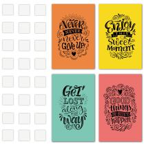 Set of 4 Inspiring and Positive Posters with a Special Design to Make your Place an Environment of Good Vibes. Wall Art Decor with Double Sided Mounting Tape (11 x 17 Inches) Inspirational Quotes Gift