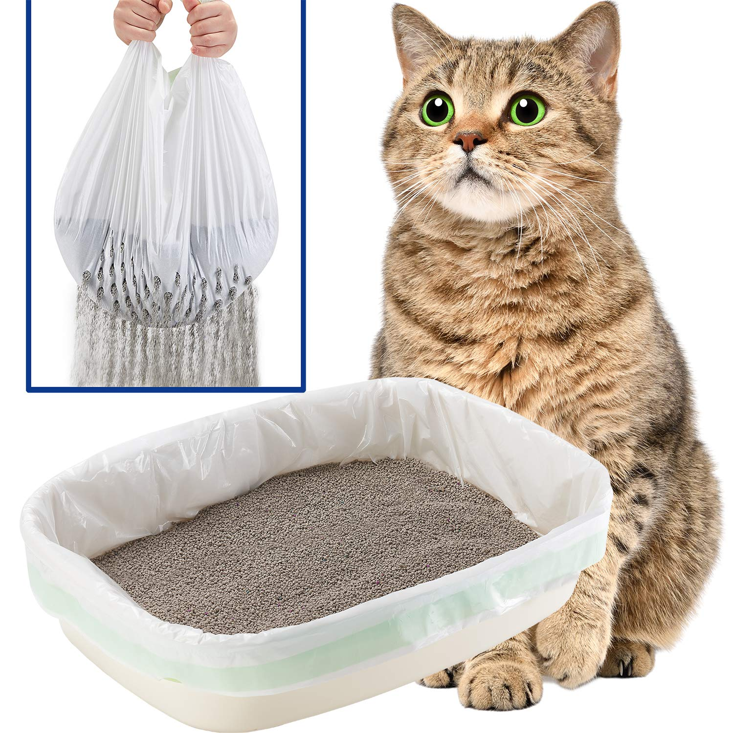 """Gefryco Cats Litter Box Liners, Jumbo Disposable Waste Litter Bags (31"""" x 18"""")"""