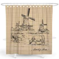 DESIHOM Farmhouse Shower Curtain Rustic Shower Curtain Vintage Shower Curtain Tan Shower Curtain Taupe Country Shower Curtain Fall Antique Farm Shower Curtain Polyester Waterproof Shower Curtain 72x72