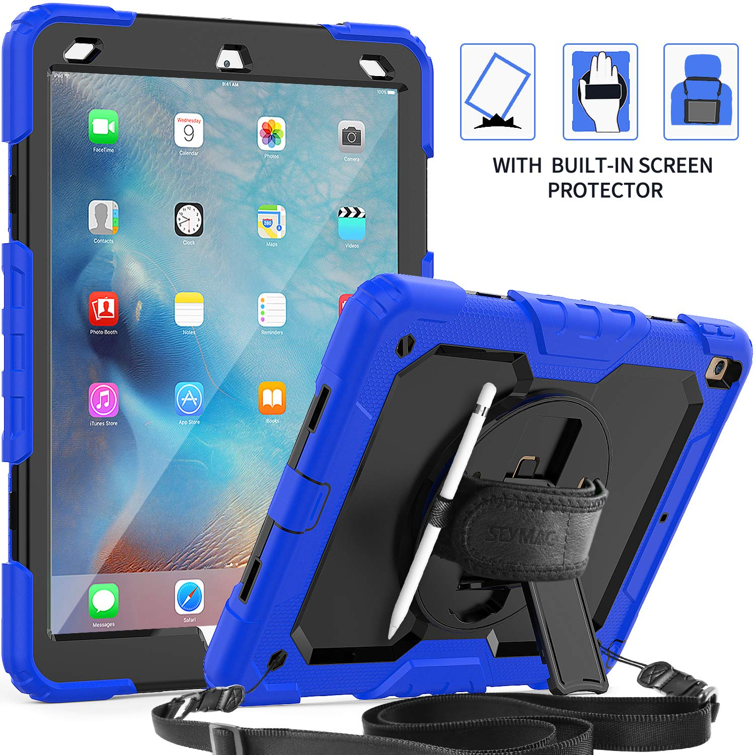iPad Air 3 Case 2019, SEYMAC [Full Body Protection] Case with [360 Degree Rotating Stand&Hand Strap] Shoulder Strap Screen Protector Pencil Holder for iPad Air 3 2019/iPad Pro 10.5'' 2017-Blue/Black