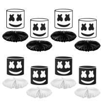 GROBRO7 8Pack Marshmellow Honeycomb Centerpiece Kit DJ Music Hanging Paper Fans Marshmellow Themed Birthday Party Favor Decorations Black White Baby Shower Table Topper Party Supplies for Kids Adults
