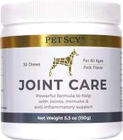 PETSCY: Joint Care Chews - Glucosamine, Chondroitin, MSM, and Creatine Nutritional Supplement for Dogs - 30 Chews - Pork Flavor - Joint Pain Relief Support for All Ages and Breeds - Made in The USA