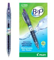 PILOT B2P - Bottle to Pen Refillable & Retractable Rolling Ball Gel Pen Made From Recycled Bottles, Fine Point, Purple G2 Ink, 12 Count (31622)