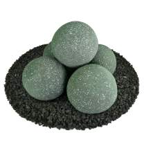 Ceramic Fire Balls | Set of 5 | Modern Accessory for Indoor and Outdoor Fire Pits or Fireplaces – Brushed Concrete Look | Slate Green, Speckled, 6 Inch