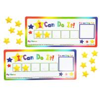 "Kenson Kids ""I Can Do It!"" Token Board, 2 Pack. Colorful Magnetic Rewards Chart with Positive-Reinforcement Stars and Customizable Goal Box. Great for Ages 3-10. Measures 5-Inches by 11-Inches"