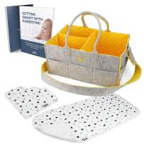 """Baby Diaper Caddy Nursery Organizer – Portable Changing Table Organizer and Diaper Stacker Includes Baby Bib and Burp Cloth (15"""" x 10"""" x 7"""") (Yellow)"""