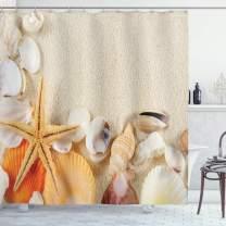 "Ambesonne Seashells Shower Curtain, Group of Seashells Starfish on The Sand Romantic Travel Destination Nature, Cloth Fabric Bathroom Decor Set with Hooks, 84"" Long Extra, Sand"