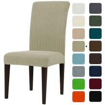 subrtex Dining Room Chair Slipcovers Sets Stretch Furniture Protector Covers for Armchair Removable Washable Elastic Parsons Seat Case for Restaurant Hotel Ceremony(4,Sand)