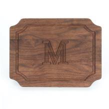 """BigWood Boards W300-M Cutting Board, Monogrammed Wedding Gift Cutting Board, Small Cheese Board, Walnut Wood Serving Tray,""""M"""""""