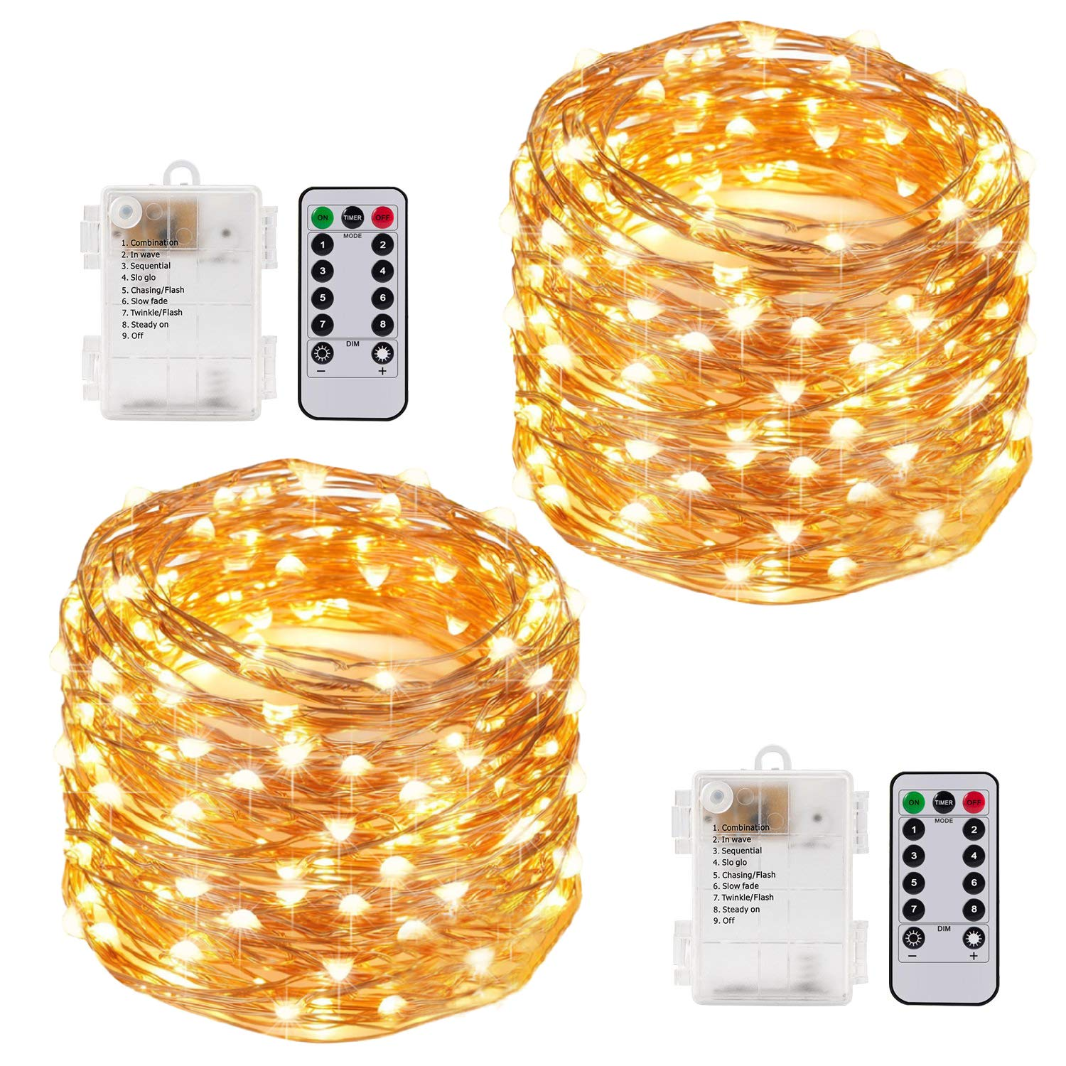 Kohree String Lights LED Copper Wire Fairy Christmas Tree Light with Remote Control, 33ft/10M 100LEDs, AA Battery Powered, Twinkle Lights for Holiday, Wedding, Parties, Pack of 2