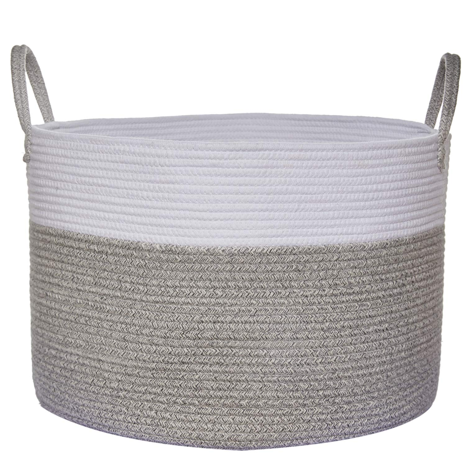 """COMEMORY Large Cotton Rope Basket, 20"""" x 14"""" Laundry Blanket Storage Basket with Built-in Sturdy Handles, Baby Nursery Hamper for Home Decor and Organizing"""