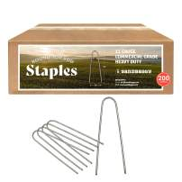 Sandbaggy Round Top 6-Inch Landscape Staples ~ SOD Garden Stakes Square Pin for Ground Cover Fabric & Drip Irrigation Tubing (200 Staples)