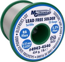 """MG Chemicals Sn100e, 99.5% Tin, 0.5% Copper, trace of Cobalt, Lead Free Solder, RA Flux, 0.51mm, .02"""" Dia."""