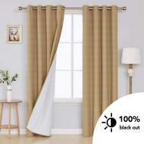 Deconovo Textured Blackout Curtains with Triple-Pass Coating Back Layer Thermal Insulated Room Darkening Window Drapes for Living Room Champagne 52W x 84L Inch