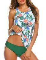 MAXMODA Women Tankini Set Two Piece Sexy Backless Halter Floral Printed Top with Hipster Bottoms Swimsuits