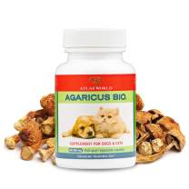 Atlas World Agaricus Bio, Agaricus Blazei for Pet Immune System Support, Cat and Dog Immune Booster, Organic Agaricus Blazei Mushroom Supplement for Dogs and Cats, 300 mg, 60 Vegetable Capsules
