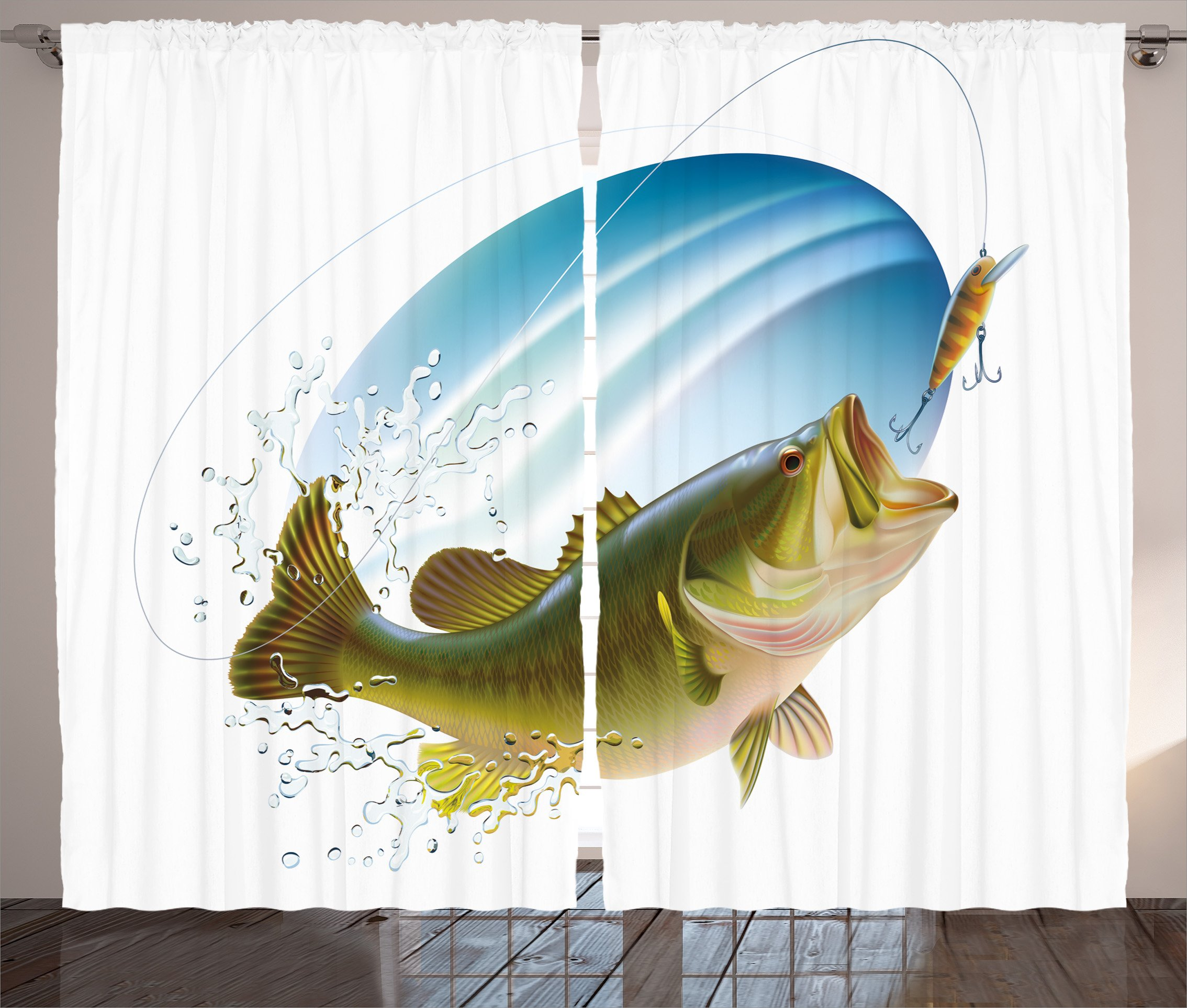 "Ambesonne Fishing Curtains, Largemouth Sea Bass Catching a Bite in Water Spray Motion Splashing Wild Image, Living Room Bedroom Window Drapes 2 Panel Set, 108"" X 84"", Green Blue"