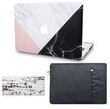 """KECC Laptop Case for MacBook Pro 13"""" (2020/2019/2018/2017/2016, with/Without Touch Bar) w/Keyboard Cover + Sleeve Plastic Hard Shell Case A2159/A1989/A1706 3 in 1 Bundle (White Marble Pink Black)"""
