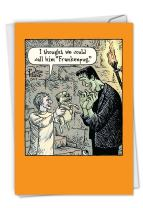 Frankenpug - Funny Happy Halloween Greeting Card with Envelope (4.63 x 6.75 Inch) - Cartoon Pet Pug Dog, Hilarious Spooky Note Card C6232HWG