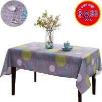 JIATER Christmas Tablecloth Spillproof Fabric Kitchen Outdoor Picnic Camping Holiday Table Cloth for Rectangle Tables 60 x 84 Inch (Wave Point Blue)