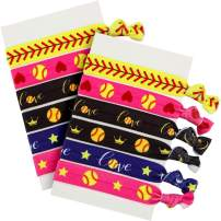 Norme 12 Pieces Hair Accessories, Girls Hair Ties No Crease Hair Elastics Set for Player and Teams (Multi Color Softball Hair Accessories)