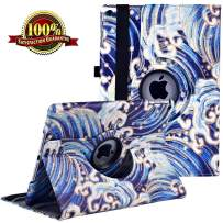 LXS New iPad 7th Generation Tablet Case (10.2-inch,2019 Releases), 360 Degree Rotating Multi-Angle Viewing Folio Stand Cases with Pencil Holder for iPad 10.2 7th Gen (Sea Waves New)