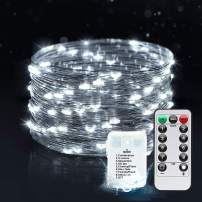 MESHA LED Fairy Lights Battery Operated 33FT 100LED String Lights Remote Control Timer Waterproof Twinkle String Lights 8 Modes White for Bedroom,Garden,Party,Indoor and Outdoor