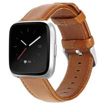 UMAXGET Leather Band Compatible with Fitbit Versa 1 & Versa 2 Band/Versa Lite/Versa Special Edition Watch, Classic Genuine Leather Strap with Stainless Steel Buckle Wristband for Women Men