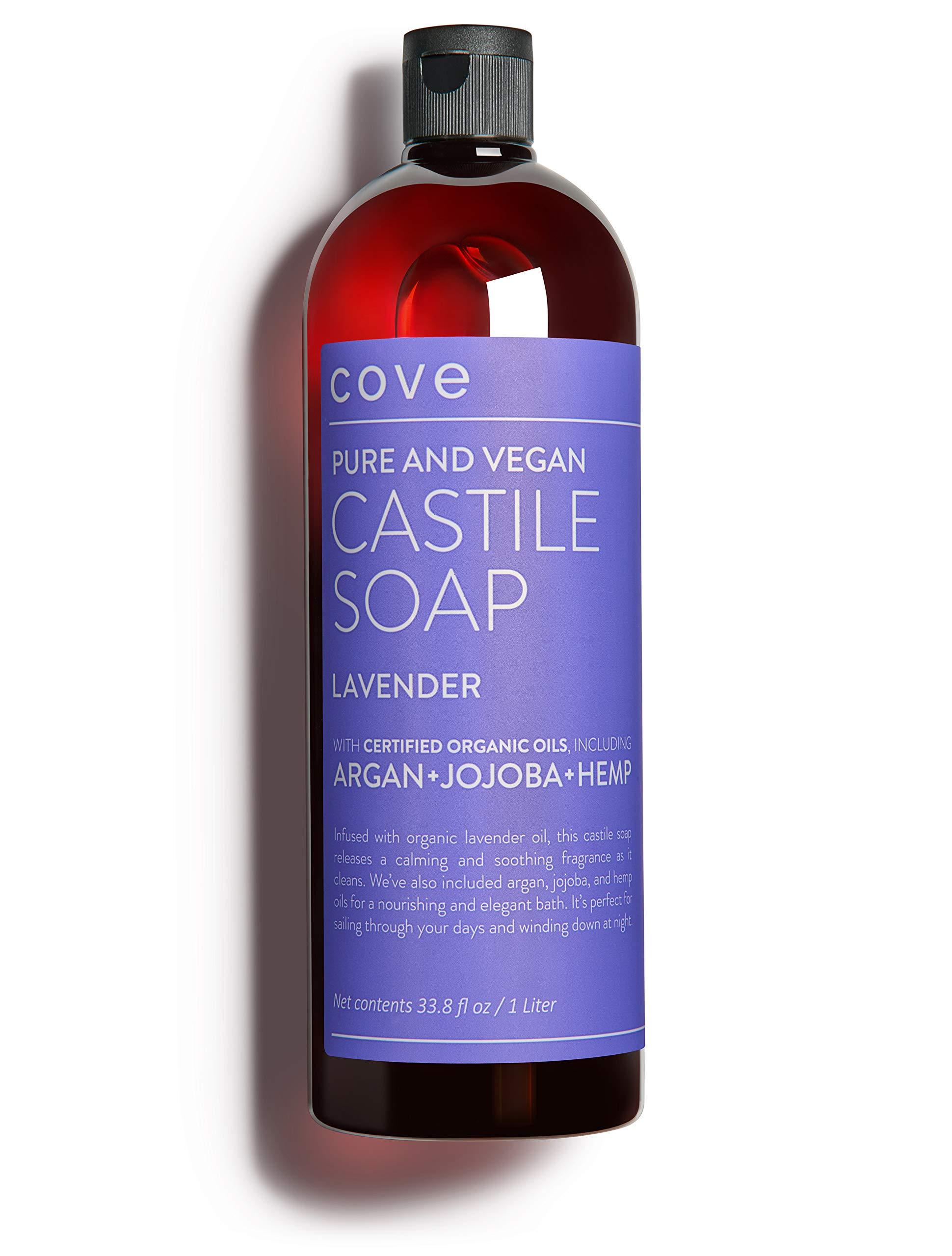Cove Castile Soap Lavender - 33.8 oz / 1 Liter - Organic Argan, Hemp, Jojoba Oils